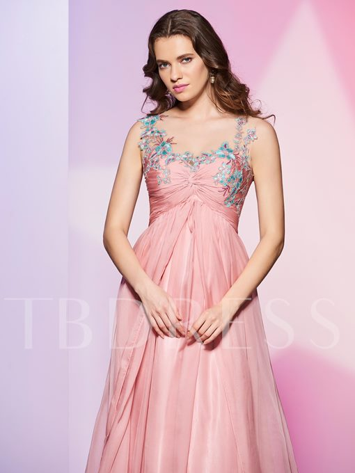 Scoop A-Line Appliques Beading Pleats Long Prom Dress