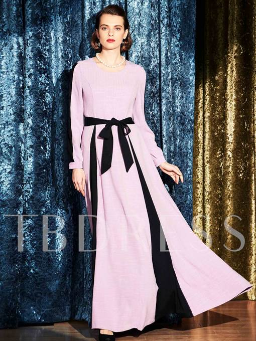 Color Block Zipper Belt Button Women's Maxi Dress