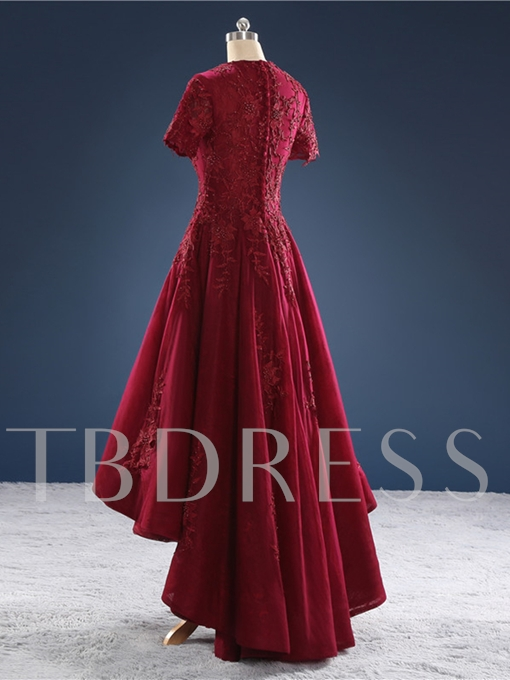 Jewel A-Line Short Sleeves Lace Beading Appliques Evening Dress