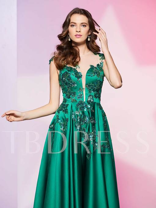 A-Line Scoop Appliques Beading Ankle-Length Prom Dress