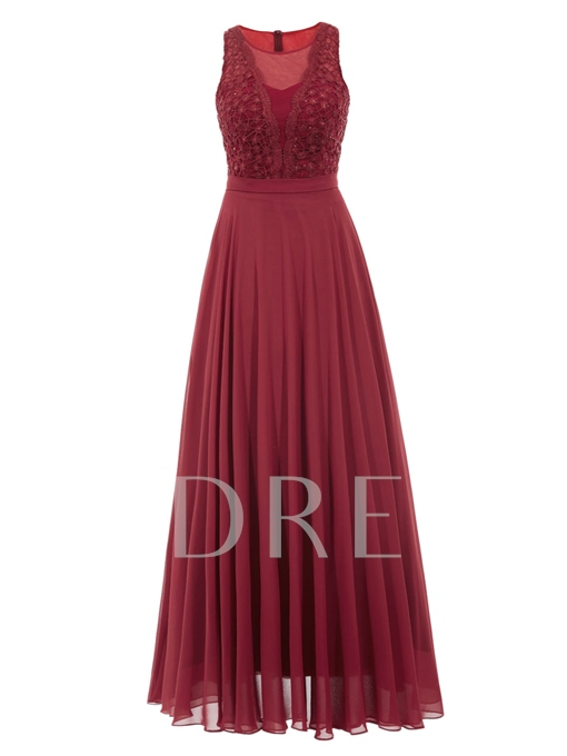 Scoop A-Line Lace Ankle-Length Evening Dress