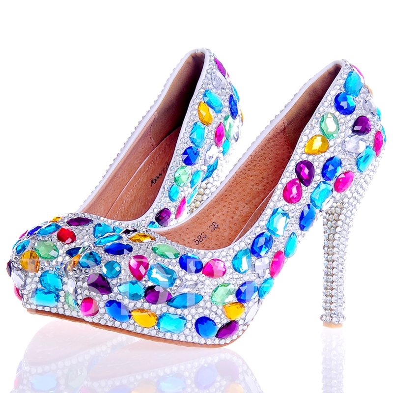Buy Rhinestone Ultra-High Heel Platform Slip-On Women's Wedding Shoes, Spring,Summer,Fall, 12724744 for $57.99 in TBDress store