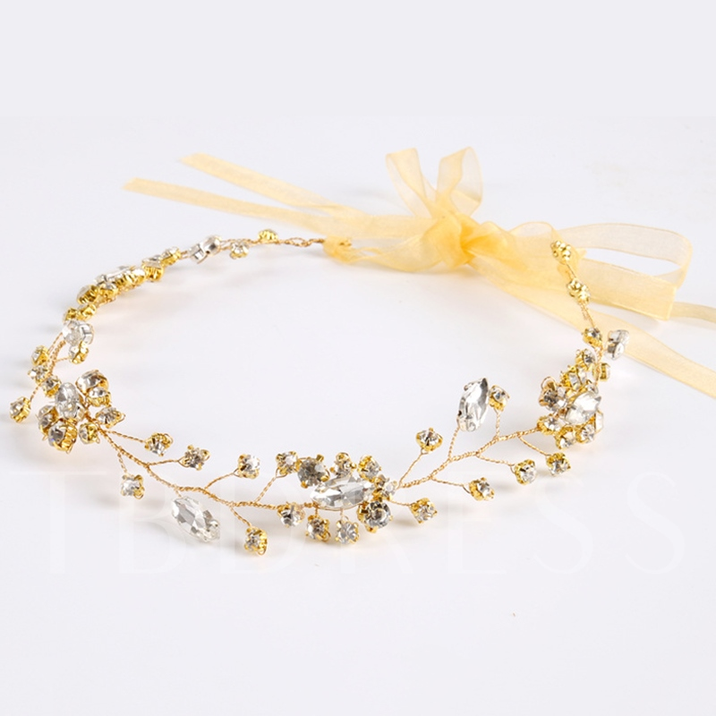 Rhinestone Inlaid Golden Plated Wedding Hair Band