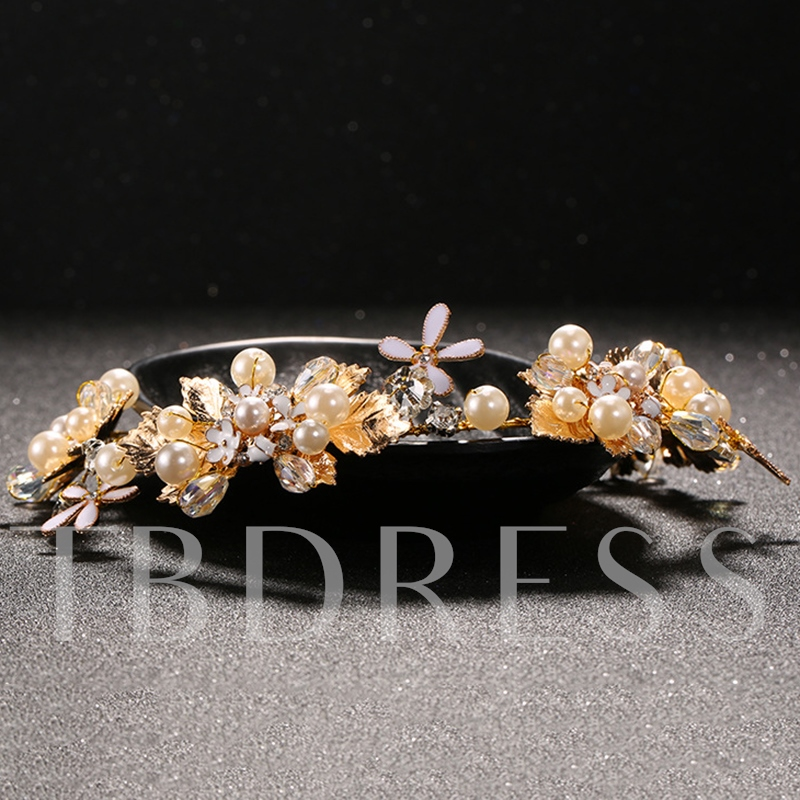Golden Beading Flowers Wedding Tiara