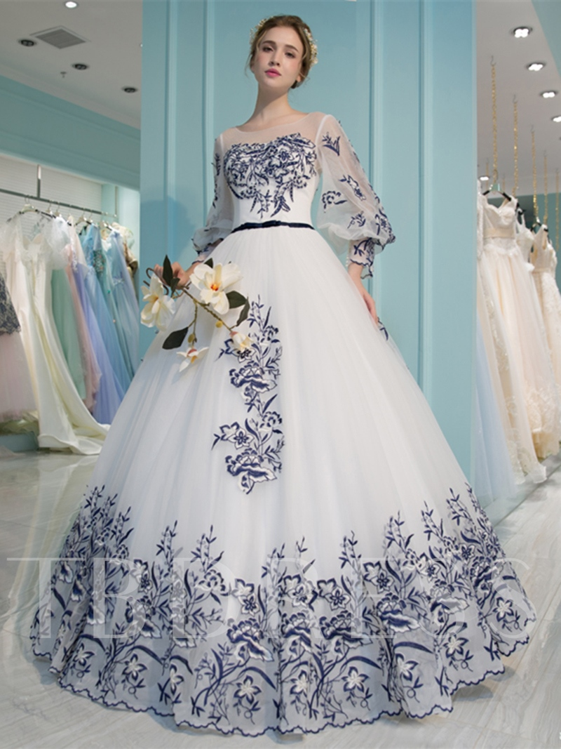 Scoop Ball Gown 3/4 Length Sleeves Appliques Quinceanera Dress