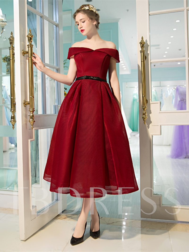 A-Line Off-the-Shoulder Sashes Bowknot Prom Dress