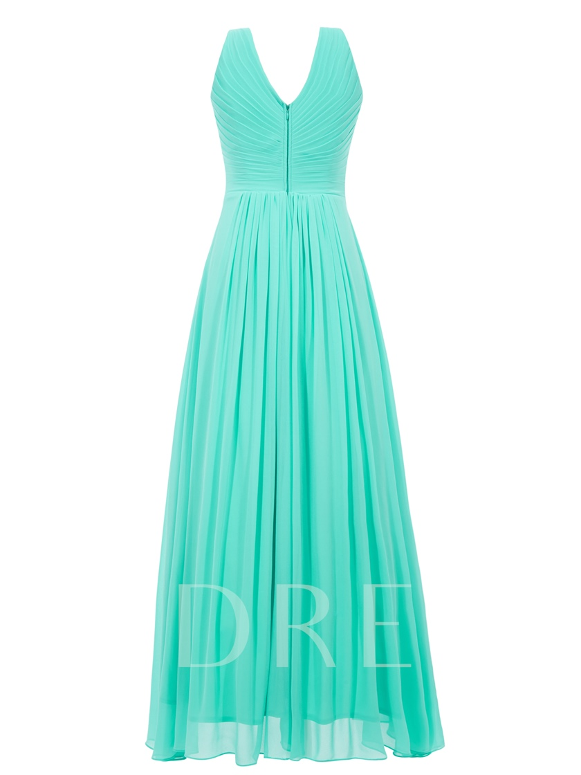 A-Line Beading V-Neck Ruched Evening Dress