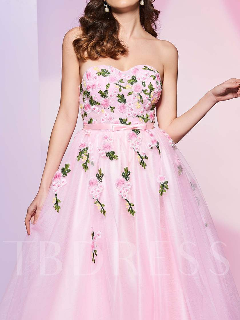 Bowknot A-Line Sashes Sweetheart Appliques Floor-Length Prom Dress