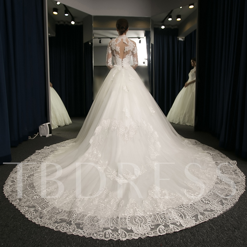 High Neck Appliques Ball Gown Long Sleeves Wedding Dress