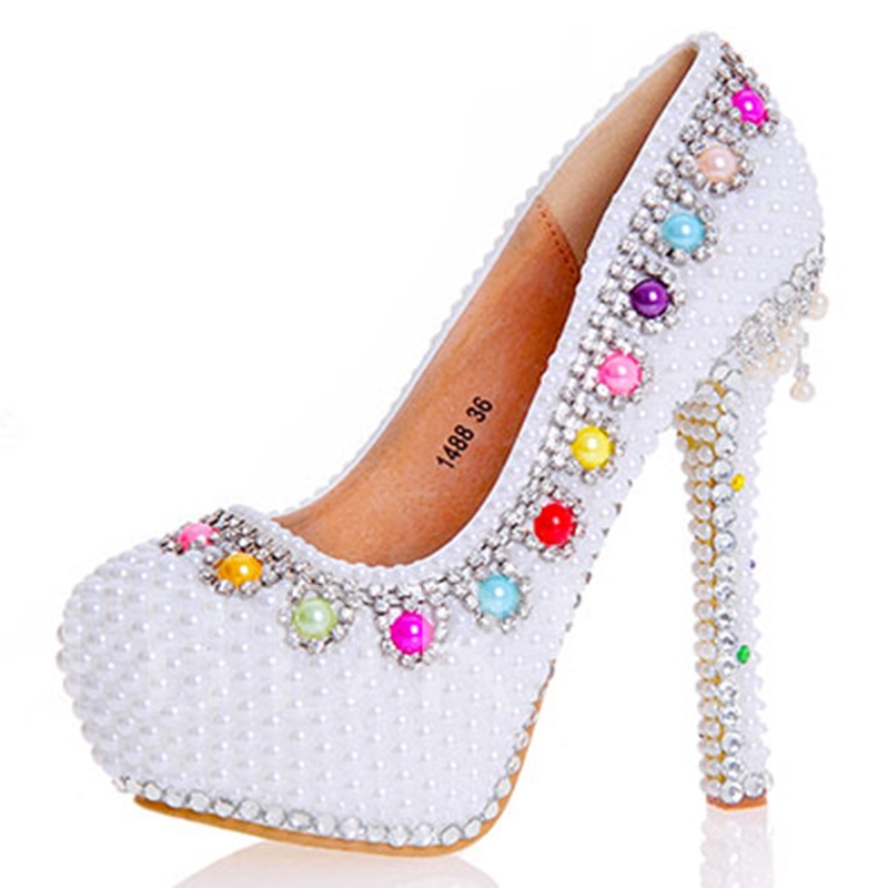 Buy Beads Ultra-High Heel Platform Women's Wedding Shoes, Spring,Summer,Fall, 12724750 for $64.99 in TBDress store
