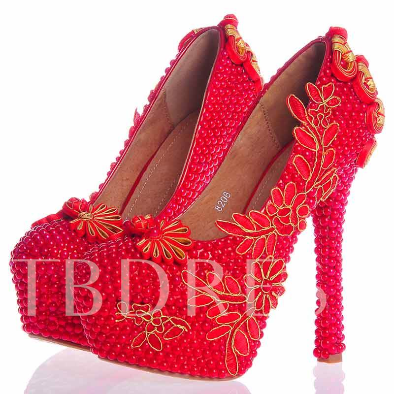 Buy Beads Ultra-High Heel Appliques Platform Women's Wedding Pumps, Spring,Summer,Fall, 12724654 for $65.99 in TBDress store