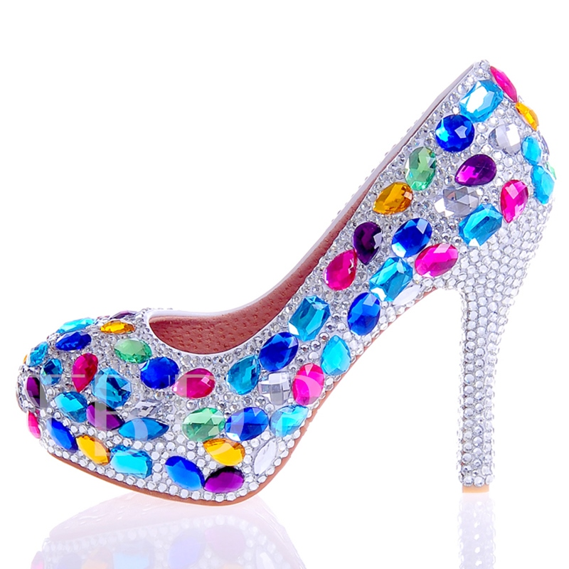 Rhinestone Ultra-High Heel Platform Slip-On Women's Wedding Shoes