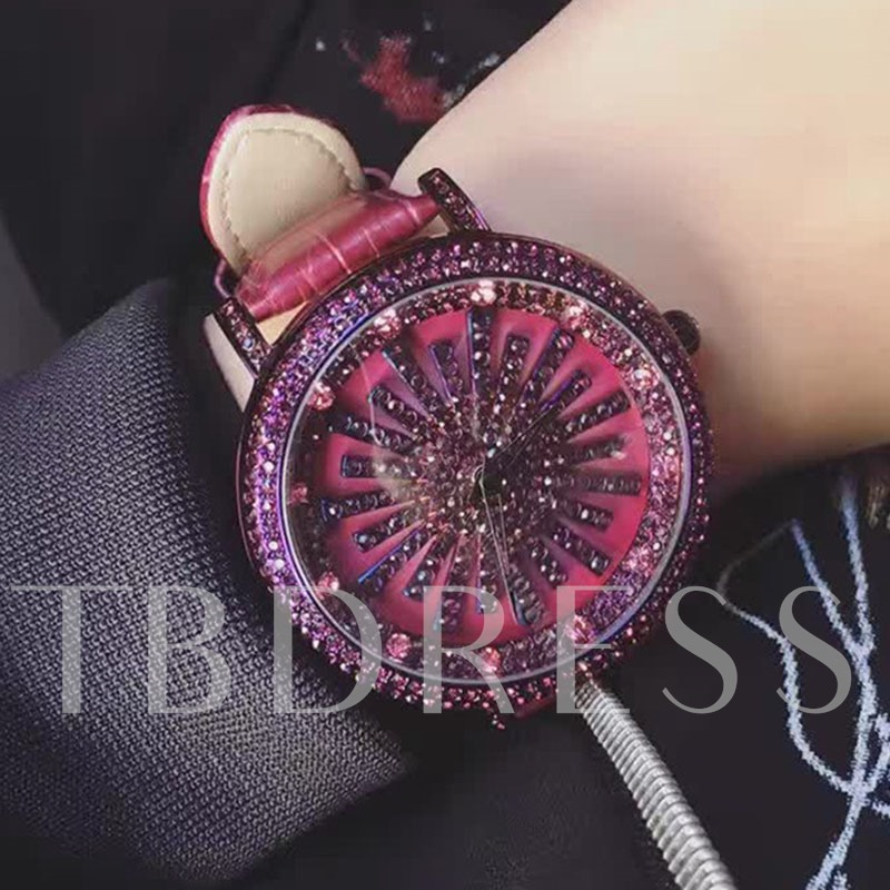 PU Band Ultra Violet Rhinestone Women's Watch