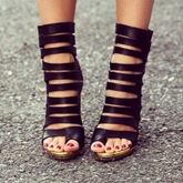 Black Banded Clip Toe Sandals