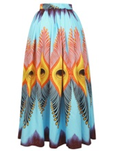 Ethnic Style Peacock Print High-Waist Floor-Length Women's Skirt
