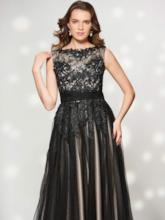 A-Line Lace Bateau Appliques Floor-Length Evening Dress
