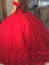 Ball Gown Off-the-Shoulder 3D Flowers Red Quinceanera Dress
