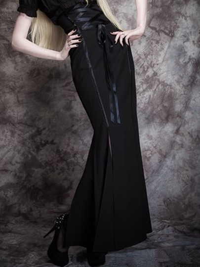 Corseted Fishtail Women's Long Gothic Skirt