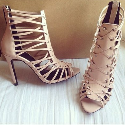 Nude Braided Cage Sandals