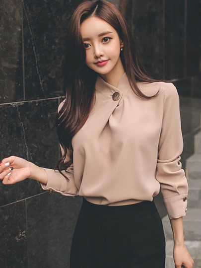 Ladylike Long Sleeve One Button Women's Blouse