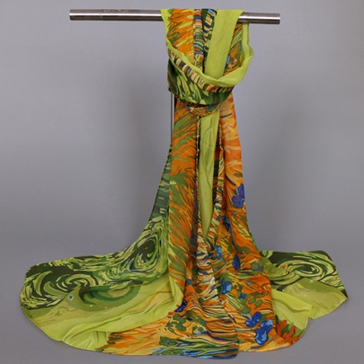 Abstract Thin Chiffon Printed Women's Scarf
