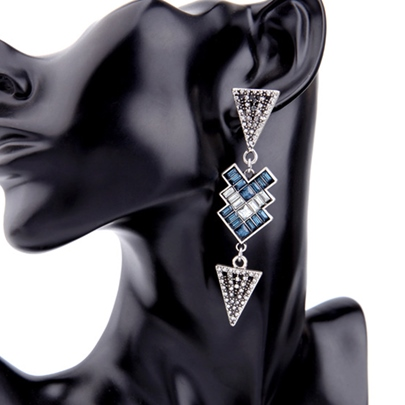 Personality Alloy Triangle Diamante Pendant Earrings