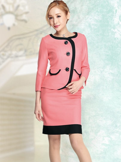 Single-Breasted Color Block Women's Skirt Suit