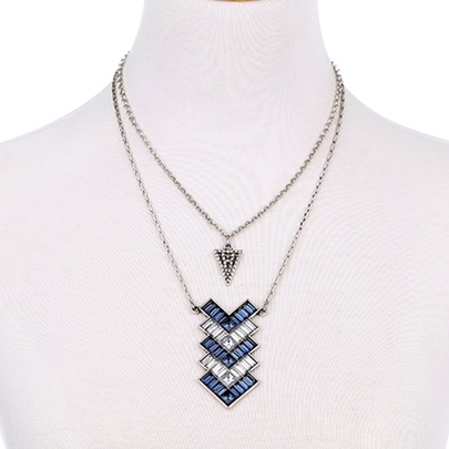 Double Layers Blue Rhinestone Pendant Necklace
