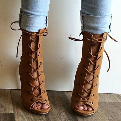 Lace Up Sandal Booties