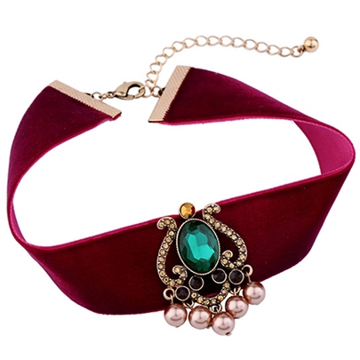 Pearl Pendant Wine Red Wide Velvet Choker Necklace
