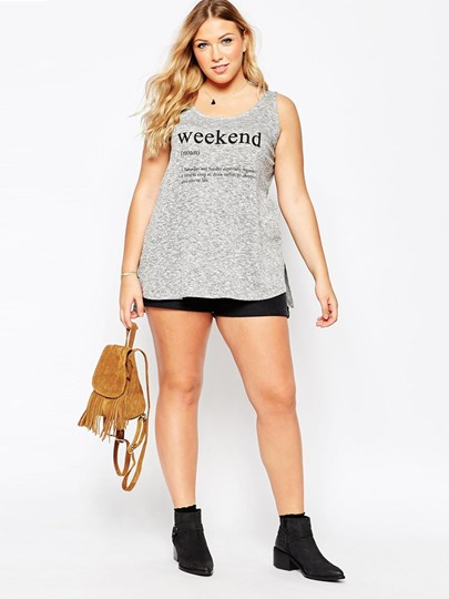 Casual Loose Letter Print Women's Tank Top