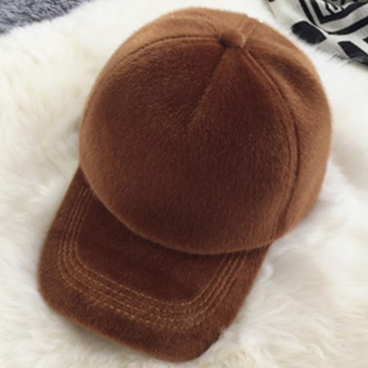 Solid Color Furry All-Matched Baseball Hat