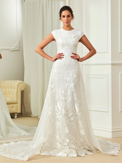 Scoop Neck Cap Sleeves Lace Sheath Wedding Dress