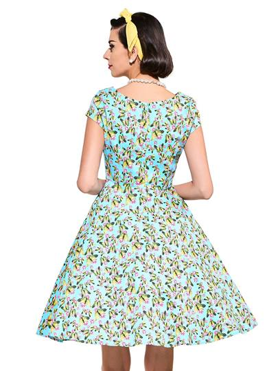 Printed Cap Sleeve Women's Day Dress