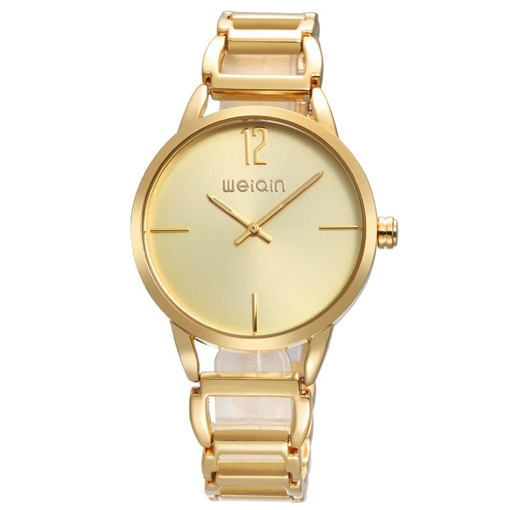 Golden Dial Two Pointer Design Women's Quartz Watch
