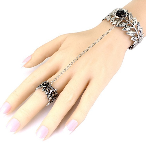 Vintage Style Rose Leaves Hollow-Out Bracelet with Ring