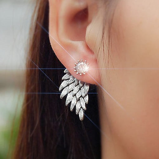 Full Rhinestone Angel's Wings Design Earrings