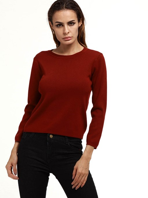 Simple Round Neck Slim Plain Women's Sweater