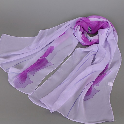 Classic Flowers Printed Women's Chiffon Scarf