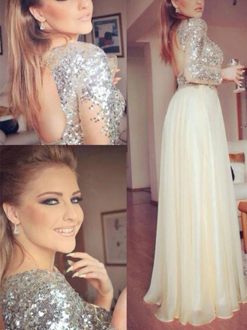 A-Line Jewel Long Sleeves Sequins Floor-Length Prom Dress