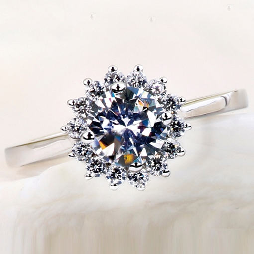 Imitation Flower Diamond-Shaped Wedding Ring