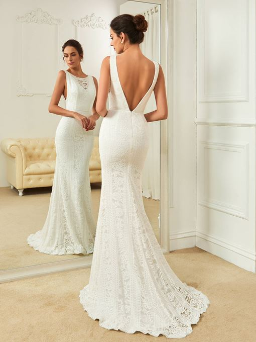 Scoop Neck Open Back Lace Mermaid Sweep Train Wedding Dress