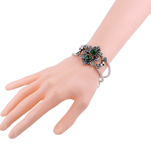 Irregular Imitation Emerald Inlaid Alloy Bracelet