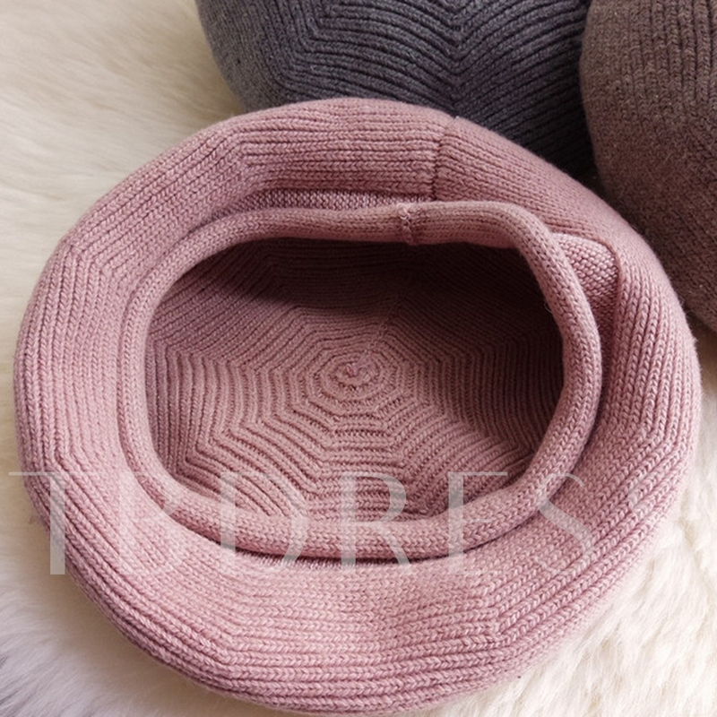 Simple Solid Color Knitted Beret Hat