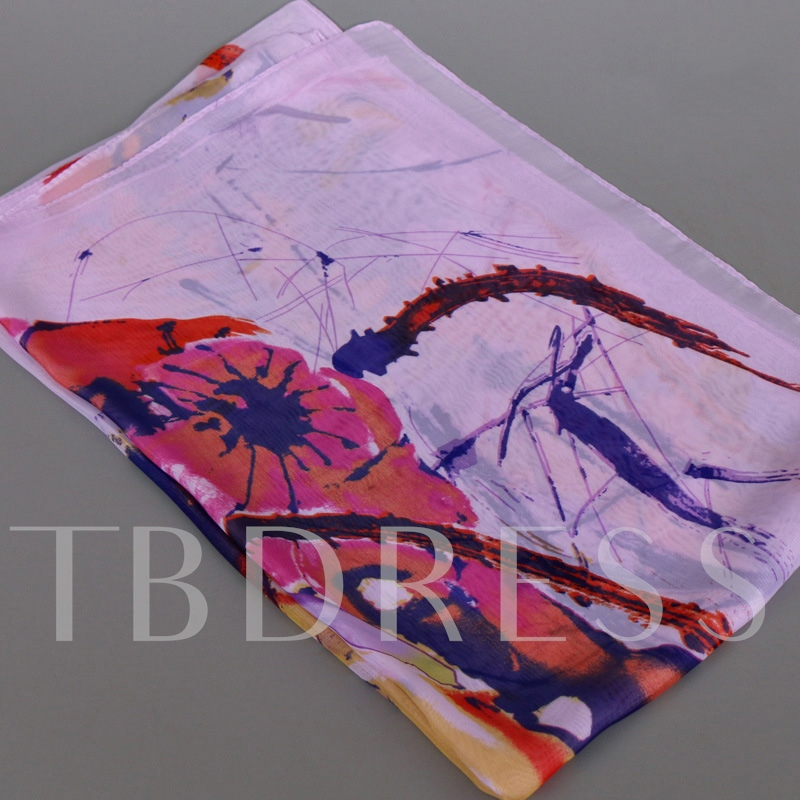 Watercolour Printed Thin Chiffon Scarf