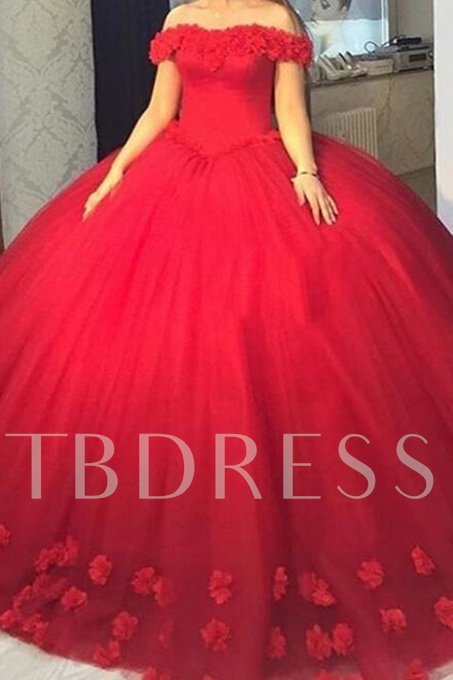 Ball Gown Off-the-Shoulder Flowers Quinceanera Dress
