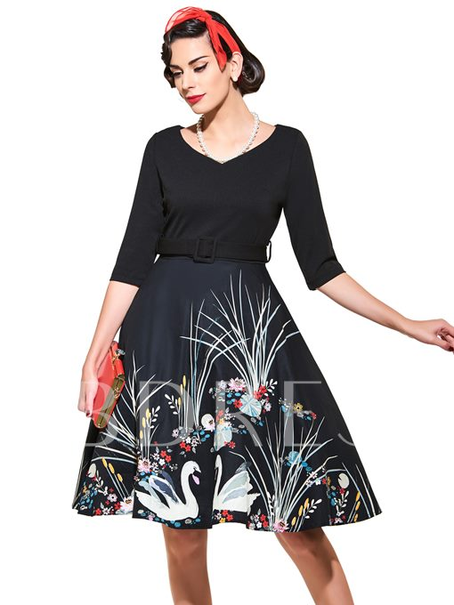 Printed V-Neck Belt Square Neck Swan Women's Day Dress