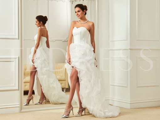 Sweetheart Lace-Up A-Line Asymmetry Court Train Wedding Dress