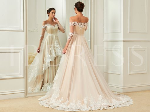 Off-The-Shoulder Long Sleeves Appliques Tiered Wedding Dress