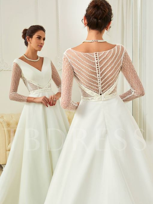 V-Neck Lace Long Sleeves Court Train Button Wedding Dress